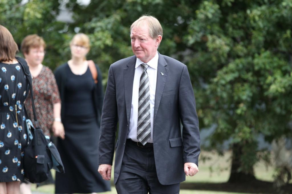 MP Nick Smith arrives at the funeral of Sir Paul Holmes.