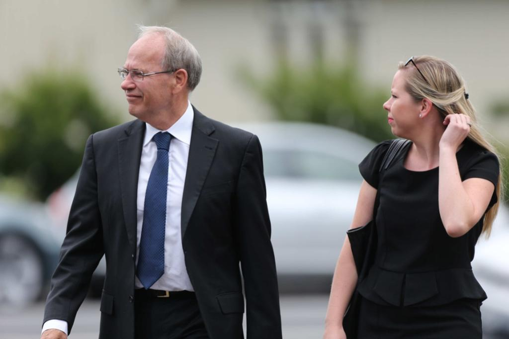 Auckland mayor Len Brown arrives at the funeral for Sir Paul Holmes.
