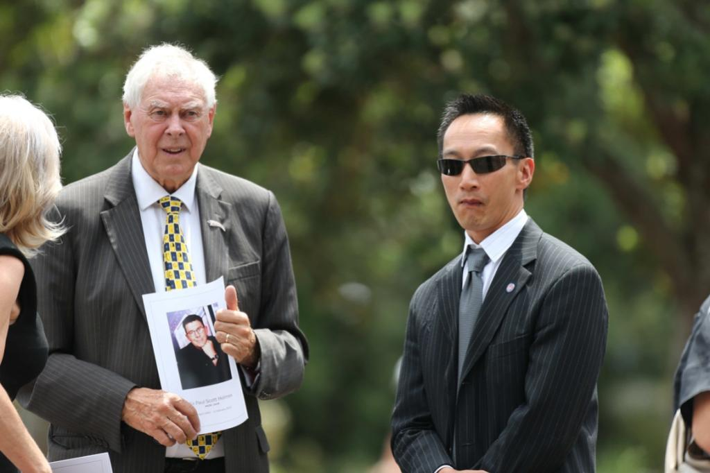 Sir Bob Harvey, left, and Andrew Young ahead of the funeral for Sir Paul Holmes.