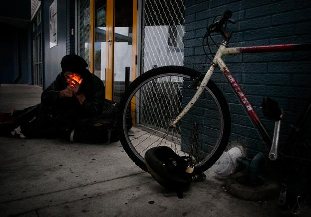 Lindsay Evans lives a homeless existence on Hamilton's streets yet has more than $75,000 in the bank. His problem, he says, is not homelessness but joblessness. Once employed he will buy his own home.