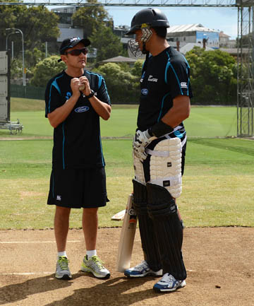 STRAINED RELATIONS: Ross Taylor talks to Black Caps coach Mike Hesson.