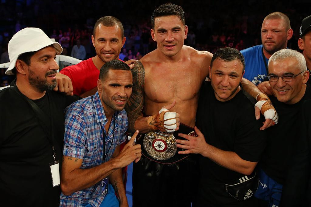 Sonny Bill Williams with his entourage which includes Quade Cooper (second left) and Anthony Mundine (third left).