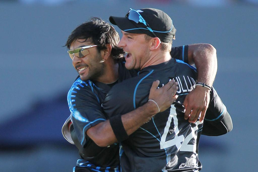 Ronnie Hira celebrates the dismissal of Alex Hales with Brendon McCullum.