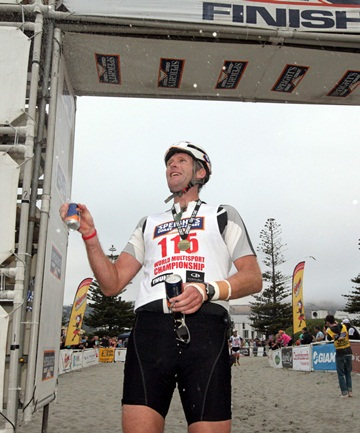 DONE: Mahe Drysdale on completion of the 2013 Coast to Coast.