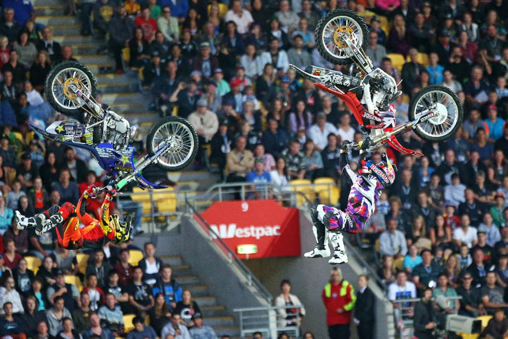 FMX riders in action.