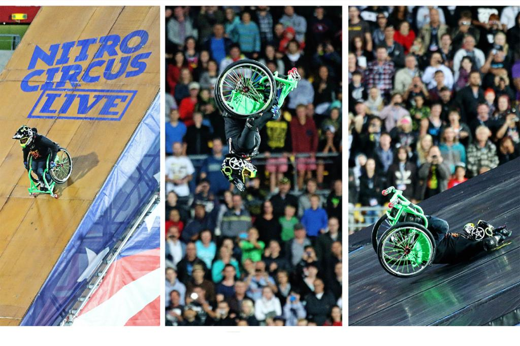 """Aaron """"Wheelz"""" Fotheringham hits the deck after attempting a double back flip. He received rapturous applause."""