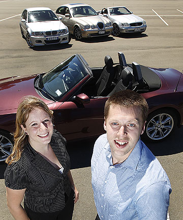 NICE WHEELS: Joanna Marquet and Andrew Ballantine run a luxury car rental business.