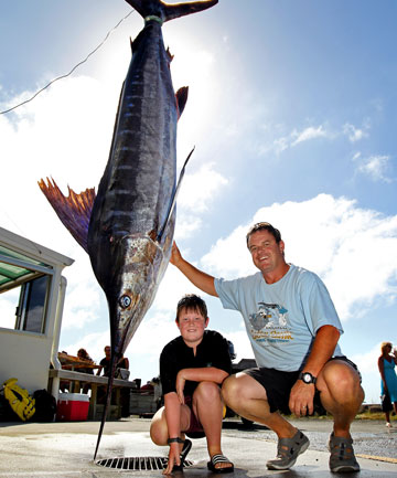 Taranaki's marlin fishing season is off to a good start with at least 13 caught or tagged so far this year, the latest a 133 kilogram fish landed yesterday by Darren Erb with a little help from his son Jakob, 9.
