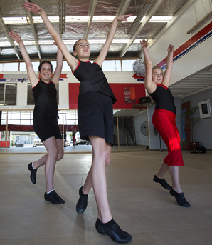 Jazz dancers Alice Boyd 12, left, Neve Murphy 12, and Ella Marshall at the new dance school.