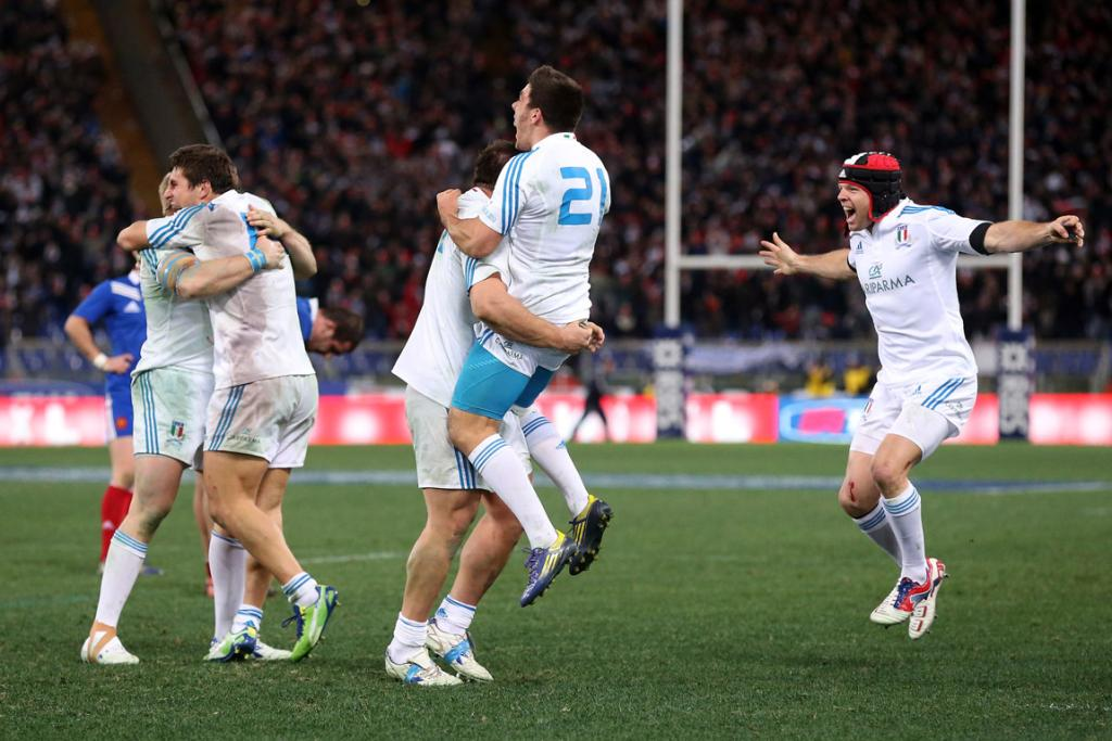 Italy celebrate their victory over France in their first game of the Six Nations.