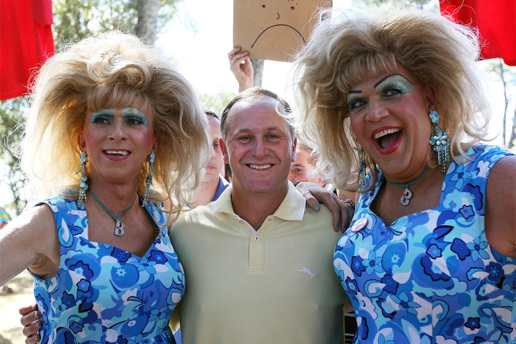 John Key mingles with drag queens at the Big Gay Out.