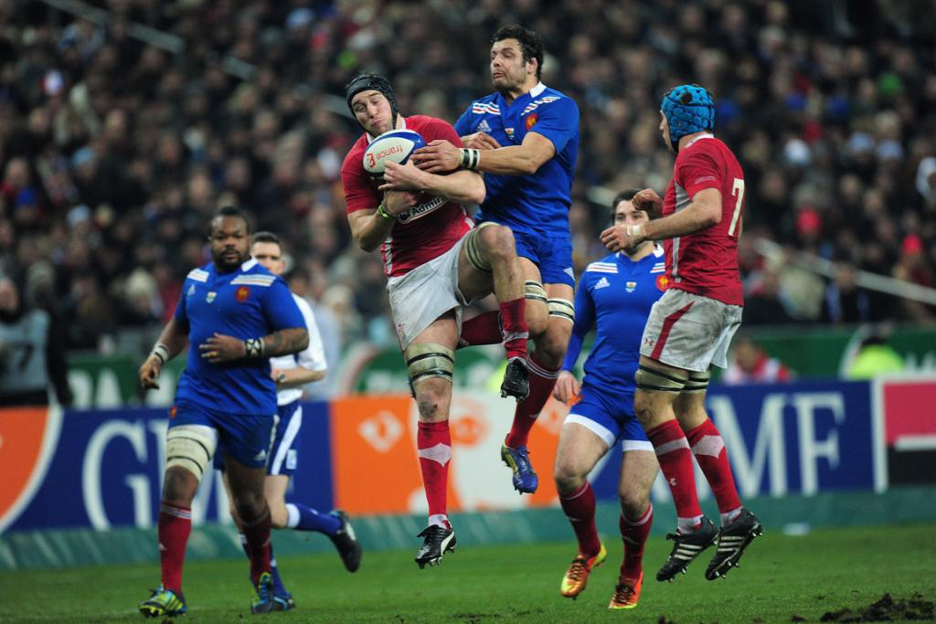 Ryan Jones of Wales claims a high ball from Damien Chouly of France.