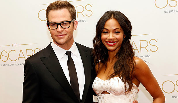 <b>SALUTE TO RED SHIRTS: Star Trek's Chris Pine and actress Zoe Saldana presented this year's Academy Of Motion Picture Arts And Sciences' Scientific & Technical Awards in Beverly Hills.</b>