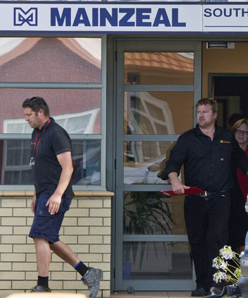 Tough times: Out-of-pocket contractors leave the Mainzeal office.