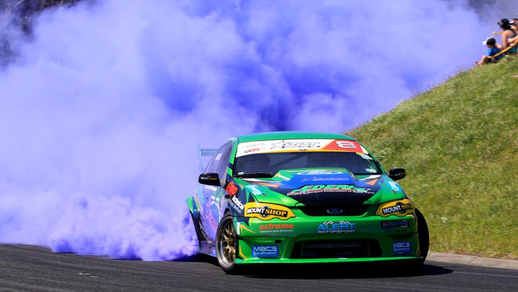 Shane Allen drifting his Ford Falcon in New Plymouth during the Rock Naki Drift event.