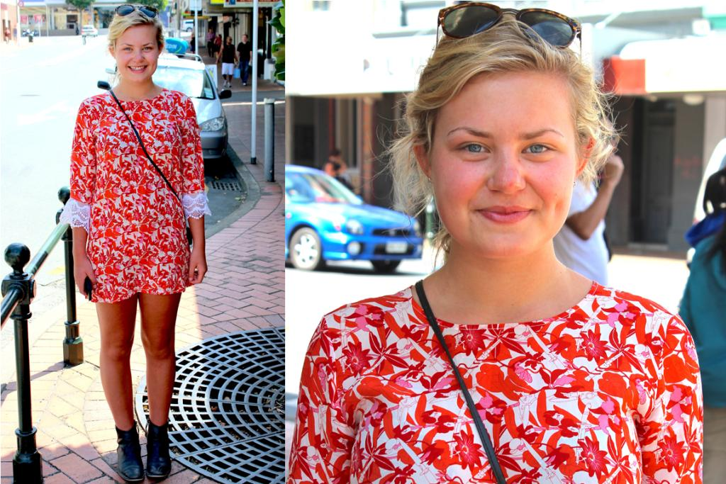 Sacha, photographed on Hanover St, Dunedin, wears a dress she bought online, Glassons sunglasses and boots from England.