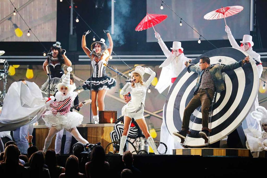 Taylor Swift performs at the 55th annual Grammy Awards
