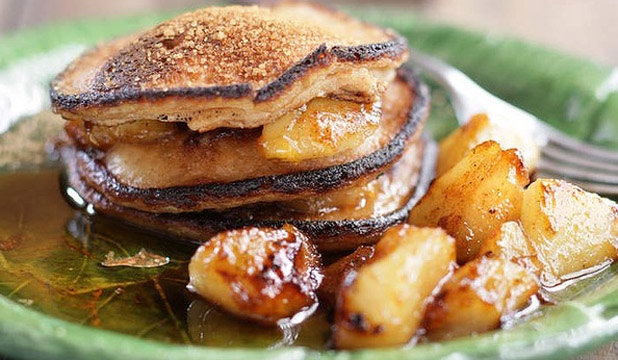 PAN-TASTIC: Poached pear pancakes.