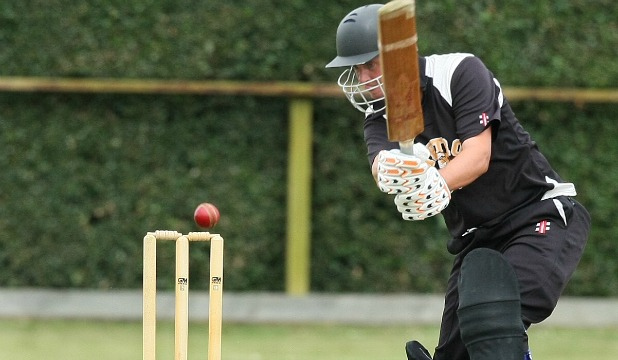 Matt Burgess on his way to top scoring for the Metro Tigers in their Southland senior one-day competition game against Invercargill-Old Boys at Queens Park in Invercargill on Saturday.