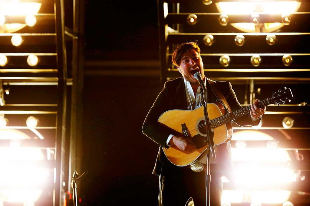 Marcus Mumford of Mumford and Sons performs at the 55th annual Grammy Awards.