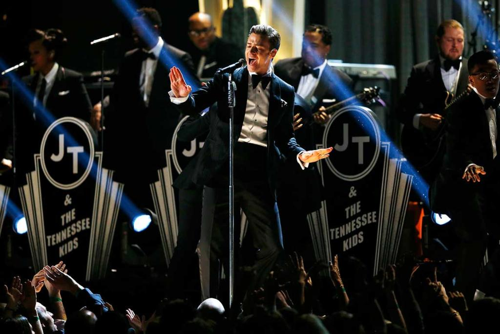 Justin Timberlake performs at the 55th annual Grammy Awards