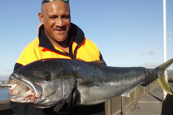 King-sized: Darrin Leadbitter landed a 14 kg kingfish off the Waione St Pipebridge.