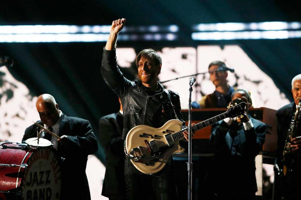 Dan Auerbach of the Black Keys performs with the Preservation Hall Jazz Band at the 55th annual Grammy Awards.