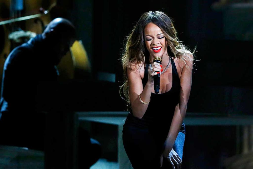 Rihanna performs with the Preservation Hall Jazz Band at the 55th annual Grammy Awards.