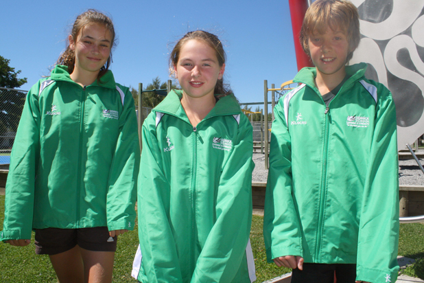 Renwick School year 7 pupils, from left, Grace Cross, 11, Jayna Potts, 11 and Samuel Adcock, 11 with their green leadership jackets.