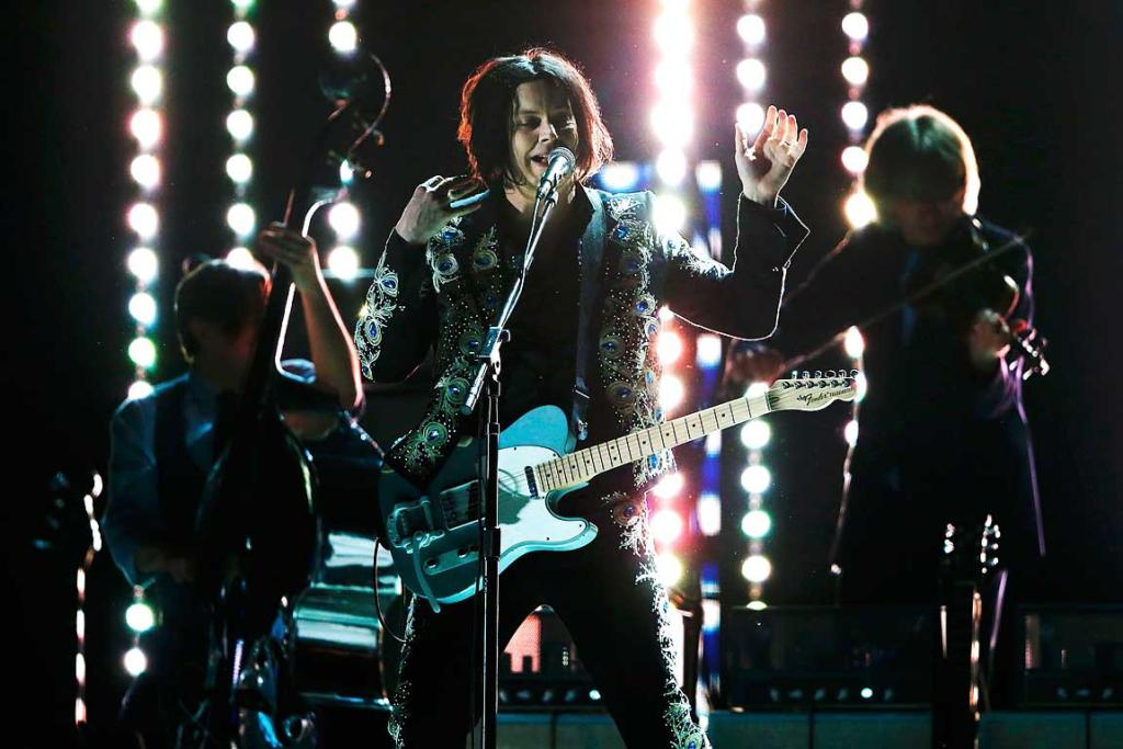 Jack White performs at the 55th annual Grammy Awards.