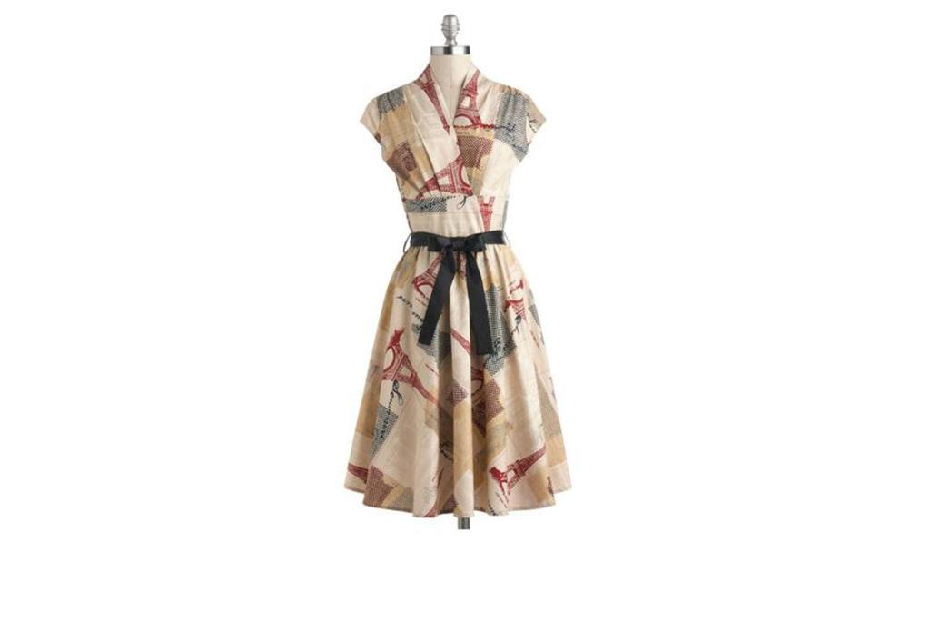 Modcloth.com $110: Wrap styles draw in and show off the waist, while the deep V neck opens up the chest and flatters the décolletage. A contrasting belt is also fantastic for nipping in and enhancing the waist.
