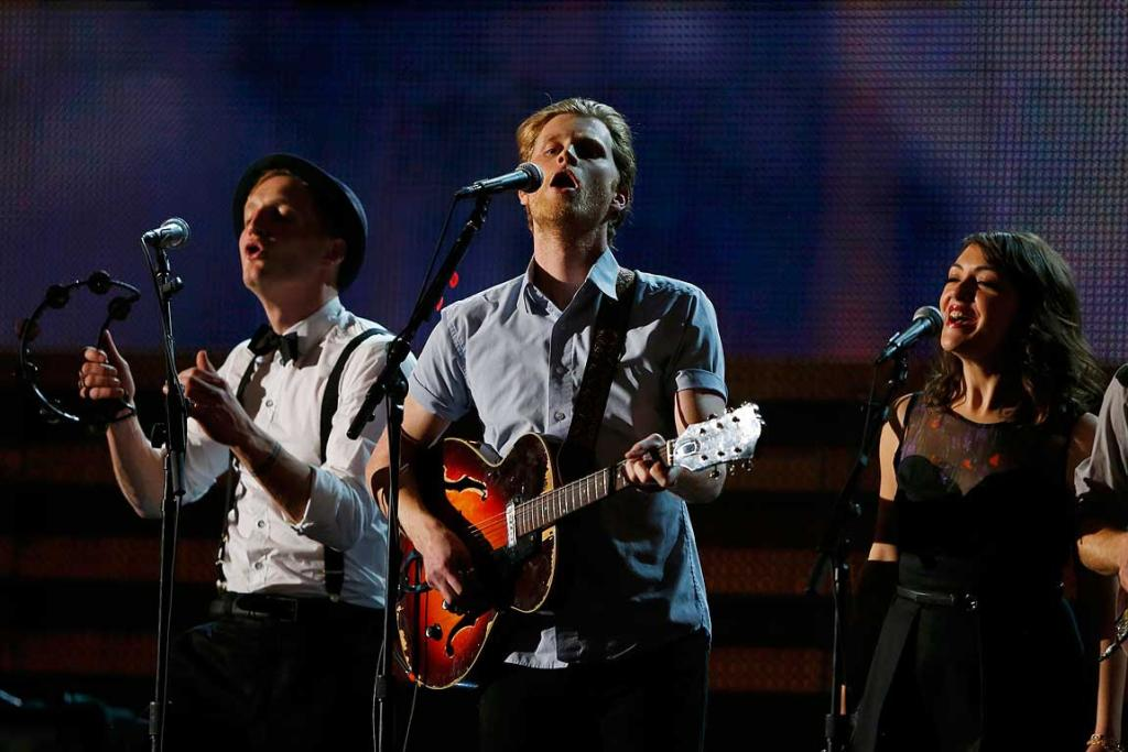 The Lumineers perform at the 55th annual Grammy Awards in Los Angeles.