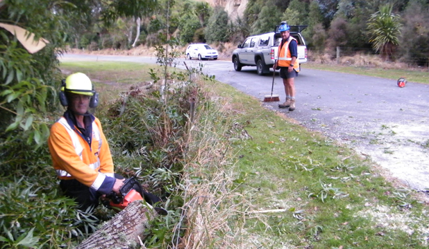 WOOD WORK: Contractors Terry McIntosh and Lyall Tunnah clean up after a willow branch came down in Centennial Park in Timaru.