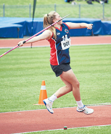 Laura Overton on her way to winning a silver medal in the senior girls' javelin at the New Zealand secondary schools championships in Dunedin in December.