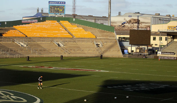 FUTURE UNKNOWN: Dan Carter practices goal kicking before the last All Black test was held at Carisbrook in July 2011. The stadium has now been sold.