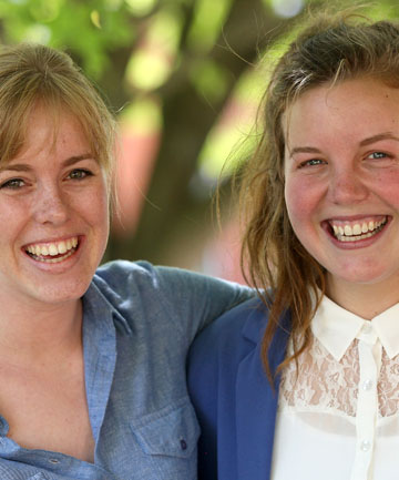 NICE WORK: Timaru Girls' High school students Charlotte McKay, left, and Nicole Austin congratulate each other on their outstanding scholarship achievements.