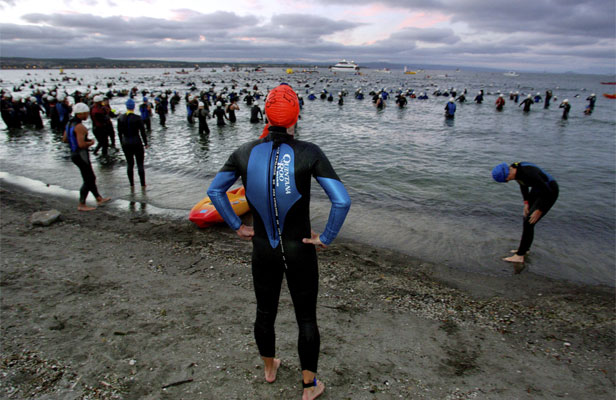 OUT OF POCKET: Competitors in the New Zealand Ironman competition.