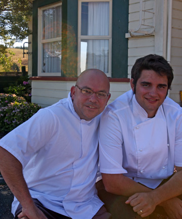 MENU MAKERS: New chef Tony Robson-Burrell and apprentice Jared Cook outside the Moutere Inn.