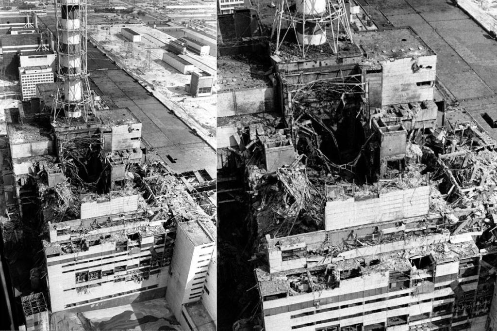 An aerial view from May 1986, showing the exploded fourth block of the Chernobyl plant