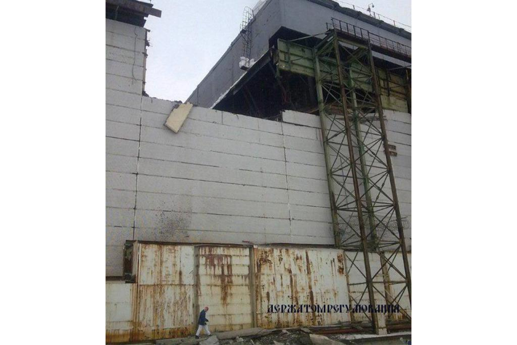 A view shows a partially damaged exterior construction of the engine room of unit number 4 at the Chernobyl Nuclear Power Plant.