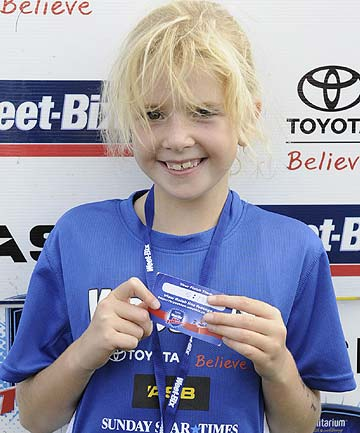 SPORTS MAD: Alana Blow, 7, loves sport despite the limitations of her medical condition. She took part in the Weet-Bix Kids TRYathlon for the first time last year.