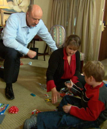 SAFE: Dr Phil McGraw is shown with Jennifer Kirkland and six-year old Ethan Gilman during the interview.