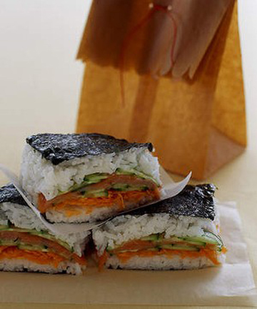 LUNCHBOX IDEA: These sandwich-shaped sushi slices are easy to make.