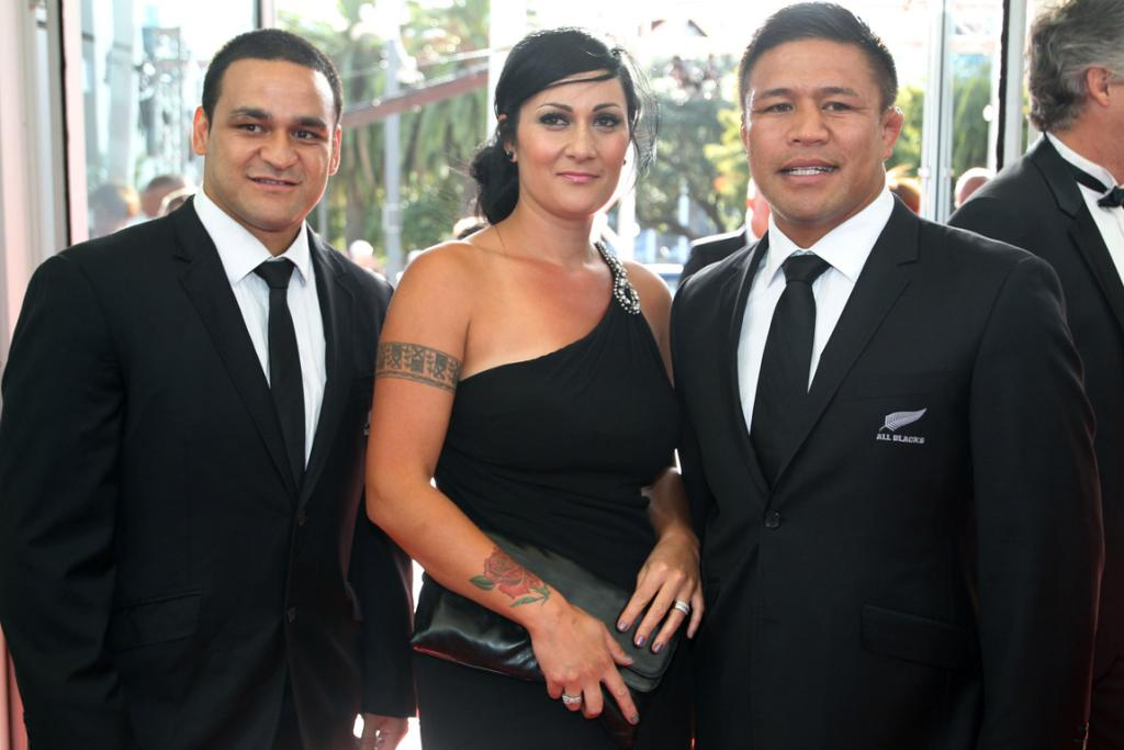 All Blacks Piri Weepu and Keven Mealamu arrive with Keven's wife Latai at the 2013 Halberg Award