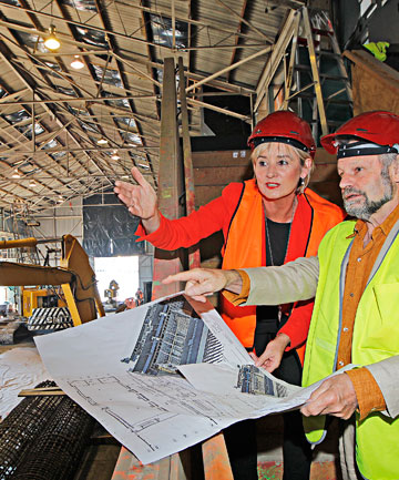 VERSATILITY-PLUS: Glenys Coughlan, chief executive of Positively Wellington Venues, and Roger Shand, of architectural firm Shand Shelton, inside Shed 6.