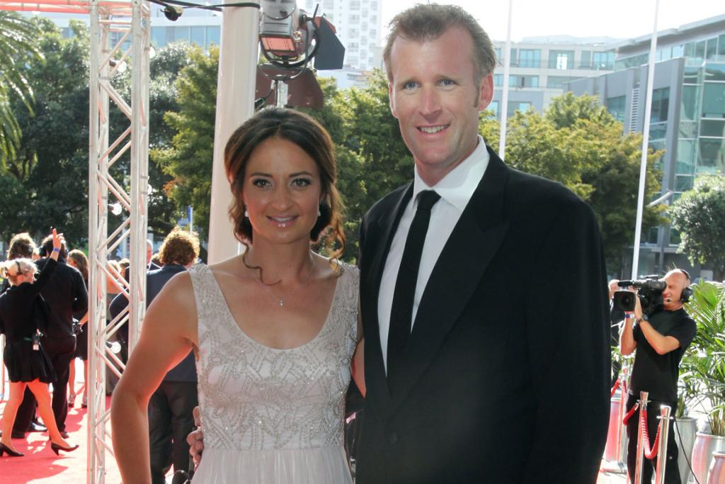 Mahe Drysdale and partner Juliette Haigh arrive at the 2013 Halberg Awards at Vector Arena in Auckland.