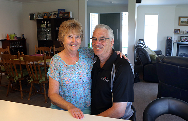 Two years on, red zones and earthquakes are only a memory for Paul and Tina Glithero in their new home at Pegasus.