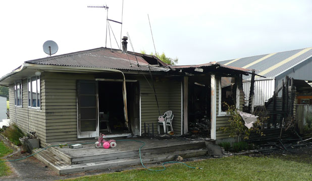 DESTROYED: Almost half of this Taupiri house was gutted by fire.