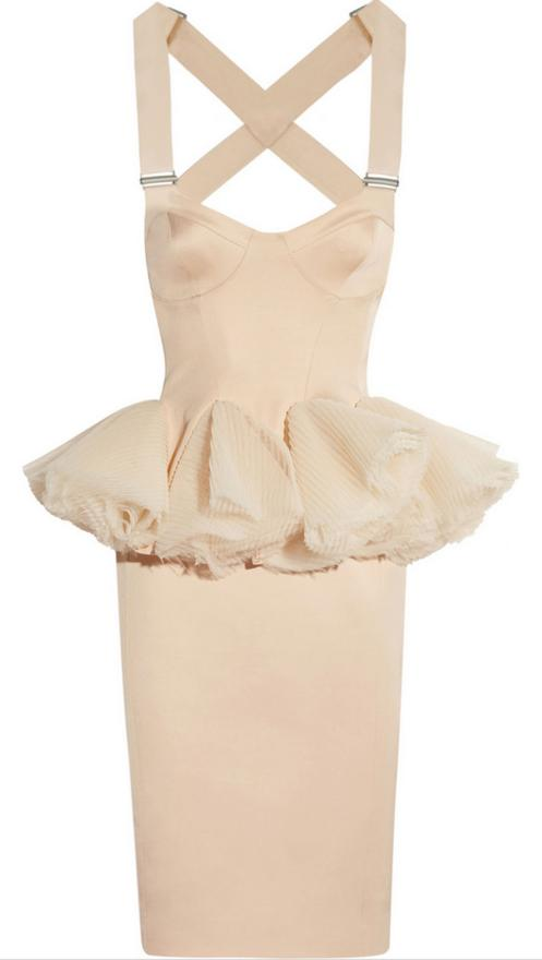 """Hakaan dress. """"I adore the mad princess peplum on this dress, balanced out by the rather severe looking straps."""""""