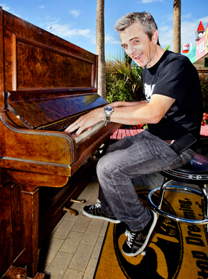 In the key of free: King's Sound Centre owner Paul King tinkles the ivories on the free-to-play piano.